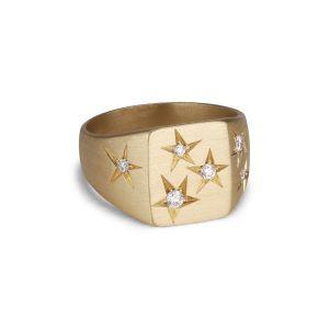 Briljant Signet Ring, 18 karat gull