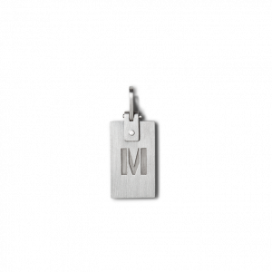 Tag Pendant, rhodinated sterling silver
