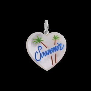 Souvenir Heart with enamel, anheng, sterlingsølv