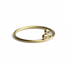 Diamond Temple Ring, forgylt sterlingsølv