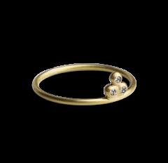 Diamond Temple Ring, forgylt sterlingsølv