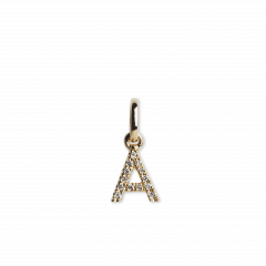 "Letter Pendant ""A""  with Diamonds, 18 karat gull"