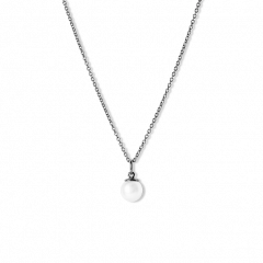 Combination of an Anchor Chain and Small Pearl Pendant, rhodinated sterling silver