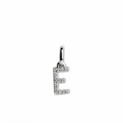 "Letter Pendant with Diamonds ""E"", 18 carat white gold"