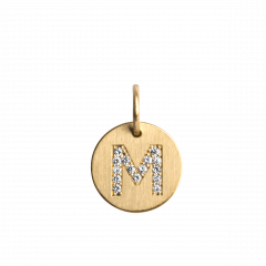 "Lovetag Pendant ""M"" with Diamonds, 18 karat gull"
