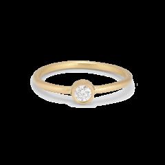 Princess ring, 18 karat gull, 0.10 ct diamant, rørsett