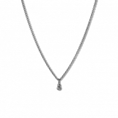 Combination of an Anchor Chain and Diamond Pendant, rhodinated sterling silver
