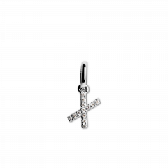 "Letter Pendant with Diamonds ""X"", 18 carat white gold"