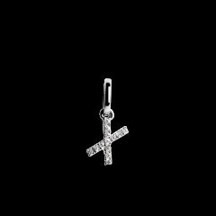 "Letter Pendant with Diamonds ""X"", 18 carat white gold"
