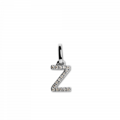 "Letter Pendant with Diamonds ""Z"", 18 carat white gold"